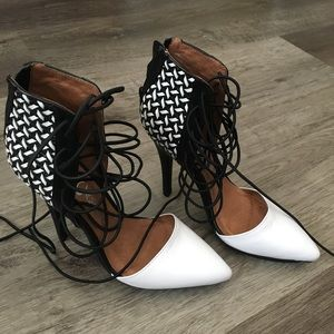 New black and white weave heels